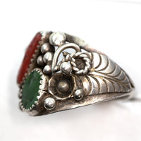 Vintage Sterling Silver Red Coral and Green Turquoise Ring