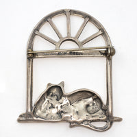 Sterling Silver Cat Laying In Window Pin Brooch