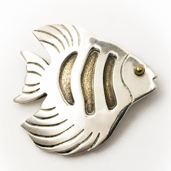 Sterling Silver Fish Pin With Gold Accents