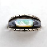 Hematite and Mother of Pearl Sterling Silver Ring