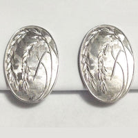 Vintage Sterling Silver Asian Rice Plant Earrings