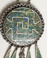 Native Silver Chief Turquoise Pendant Necklace Taxco close up brooch