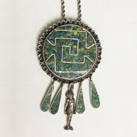 Native Silver Chief Turquoise Pendant Necklace Taxco