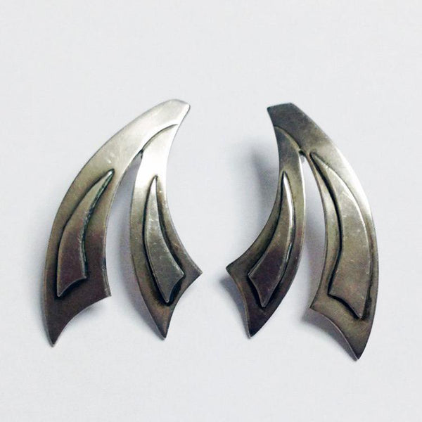 Unique Design Lovely Sterling Silver Earrings Taxco