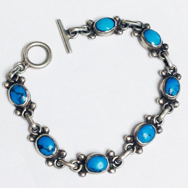 7 Stone Sterling Turquoise Bracelet Taxco