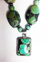 Turquoise Rock Necklace Vintage Sterling Silver Pendant