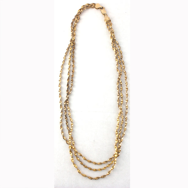 Gold Three Strand Necklace Vermeil - Sterling Silver