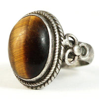 Tigers Eye 925 Sterling Ring Vintage Rope Accent Setting