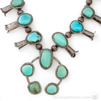 Vintage Turquoise Sterling Silver Navajo Squash Blossom