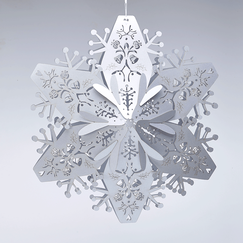 Silver hanging snowflake decoration