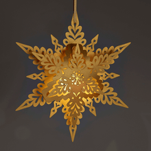 Load image into Gallery viewer, Illuminated hanging snowflake decoration