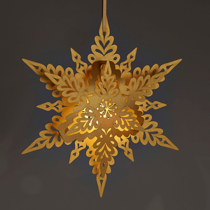 Illuminated hanging snowflake decoration