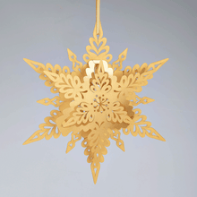 Load image into Gallery viewer, Gold Deco hanging snowflake