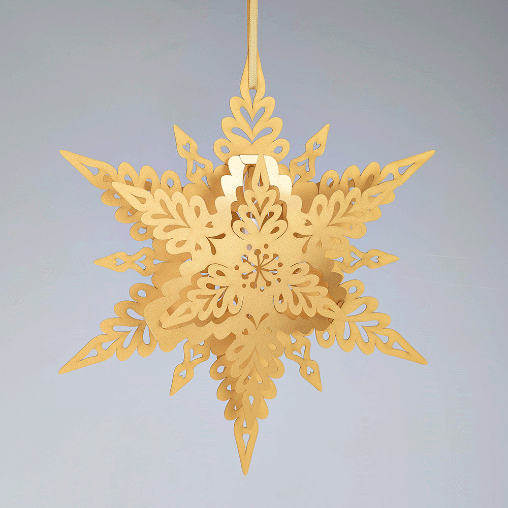 Gold Deco hanging snowflake