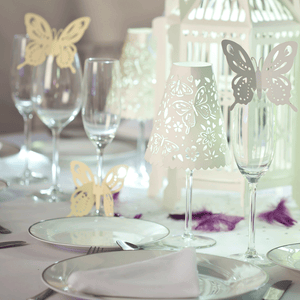 Butterfly wine glass decorations