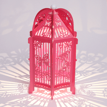 Load image into Gallery viewer, Fuchsia butterfly covered birdcage lanterns