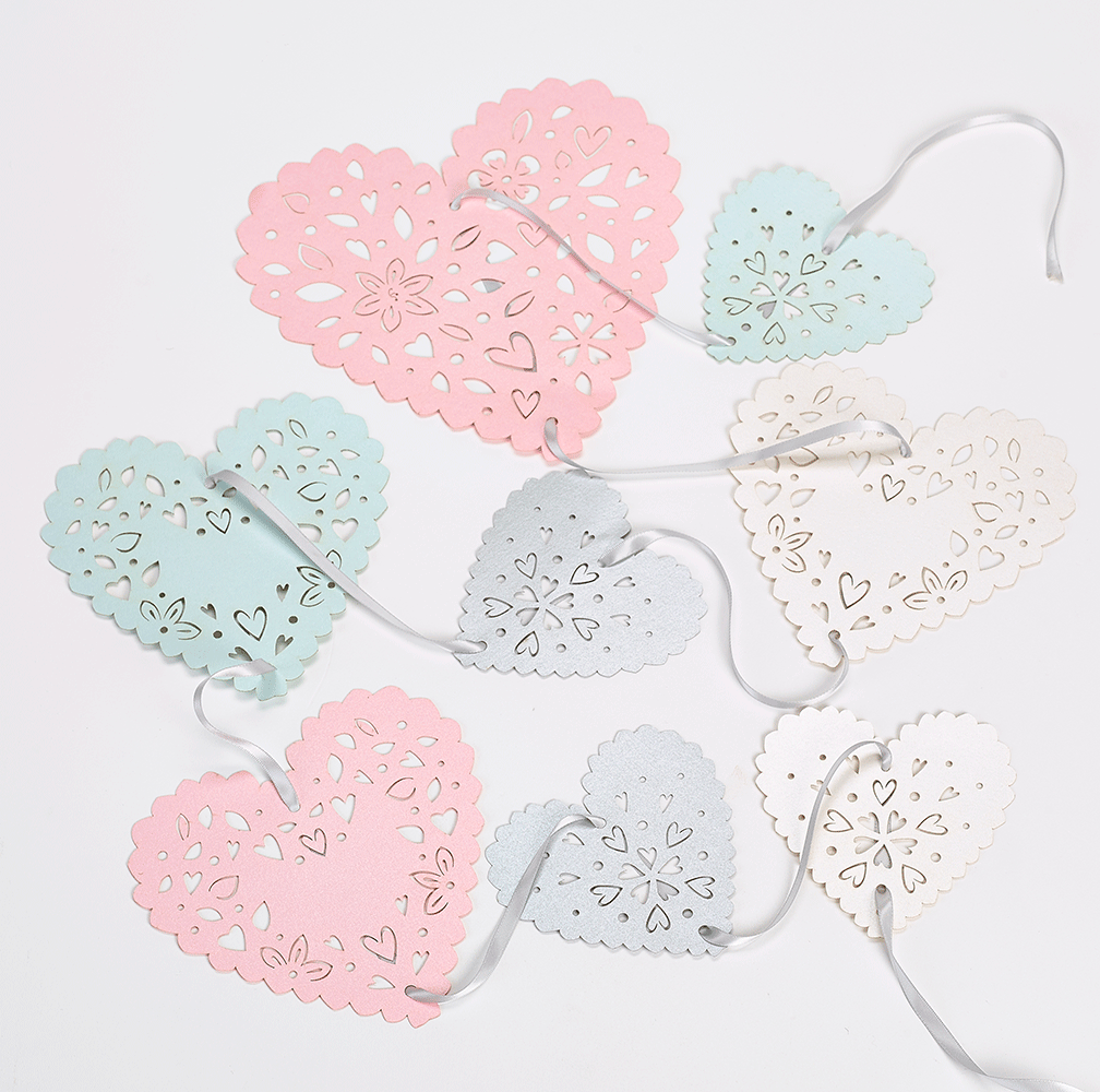 Pastel heart bunting