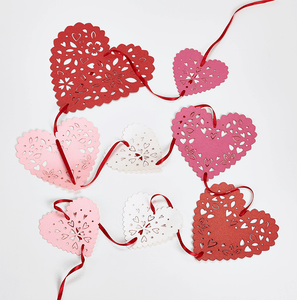 Romantic red and pink heart bunting