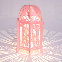Load image into Gallery viewer, Pink floral birdcage lantern