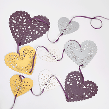 Load image into Gallery viewer, Sumptuous purple and gold heart shaped bunting
