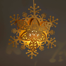 Load image into Gallery viewer, Illuminated Gold floral snowflake decoration
