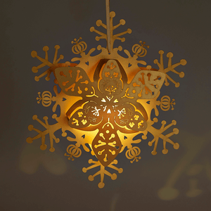 Illuminated Gold floral snowflake decoration
