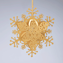 Load image into Gallery viewer, Gold floral snowflake decoration
