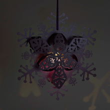 Load image into Gallery viewer, Illuminated Purple floral snowflake decoration