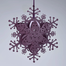 Load image into Gallery viewer, Purple floral snowflake decoration