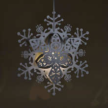 Load image into Gallery viewer, Illuminated Silver floral hanging snowflake decoration