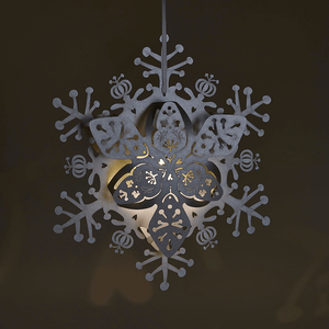 Illuminated Silver floral hanging snowflake decoration