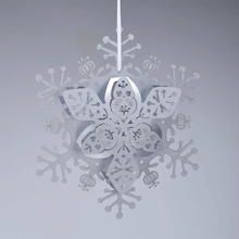 Load image into Gallery viewer, Silver floral hanging snowflake decoration