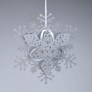 Silver floral hanging snowflake decoration
