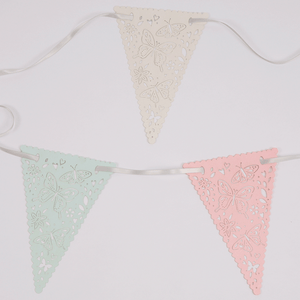 Pastel coloured laser cut bunting with butterflies