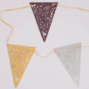 Coloured laser cut butterfly bunting