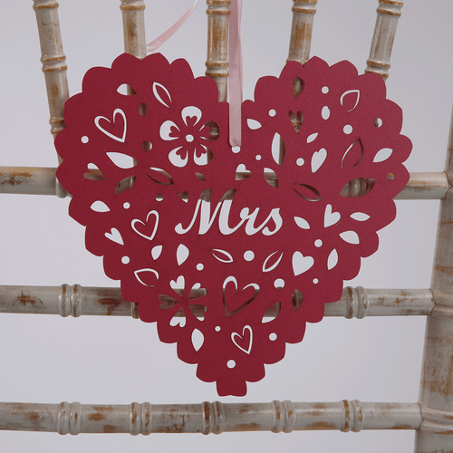 Heart Chair Decorations - Mr & Mrs