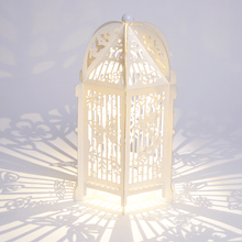 Load image into Gallery viewer, Ivory birdcage lantern with butterflies