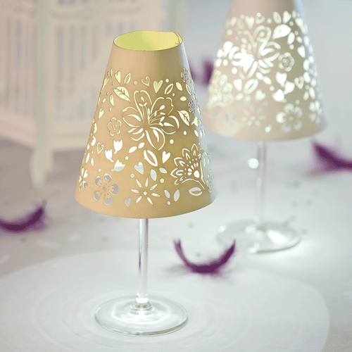 Floral wine glass shades