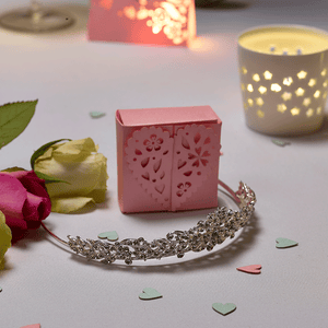 Pink laser cut heart favour box