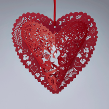 Load image into Gallery viewer, Red Christmas hanging heart decoration