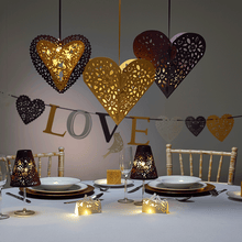 Load image into Gallery viewer, Gold paper laser cut heart pendants