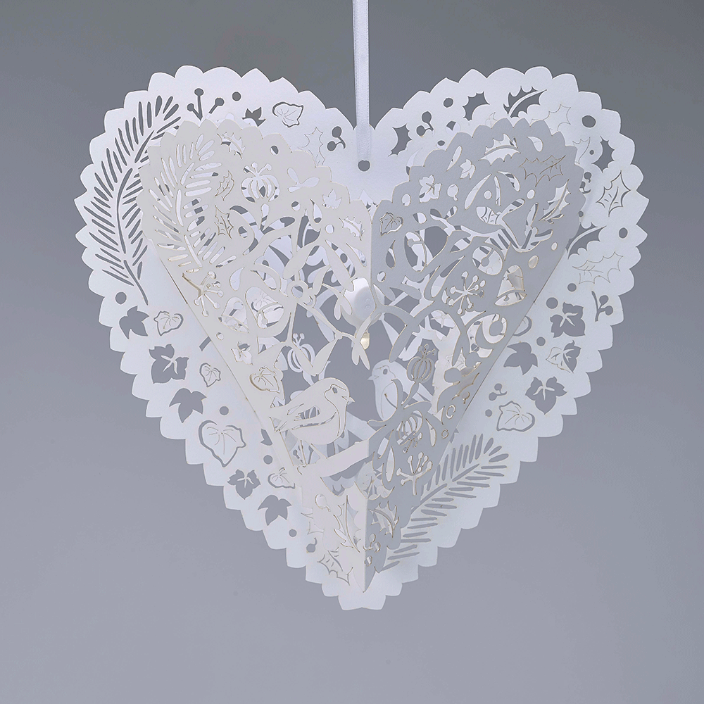 White hanging heart decoration