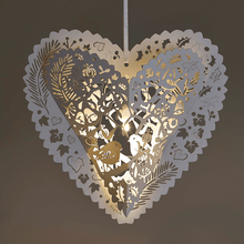 Load image into Gallery viewer, Illuminated Christmas hanging heart decoration