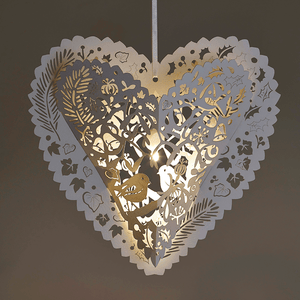 Illuminated Christmas hanging heart decoration
