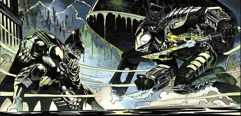 Image of Comic Book Panel of the Fight Between Batman and the Predator - Animated Apparel Company