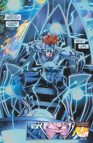 Image of Wally West sitting on the Morbus Chair from Flash Forward issue# 6 - Animated Apparel Company