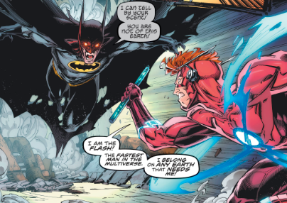 Flash Forward Comic Book Panel with Batman fighting Wally West