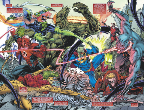 Comic book panel of many heroes and villains fighting each other.