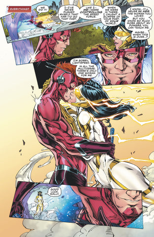 Comic book panel of the Flash kissing Linda Park aka Lightspeed
