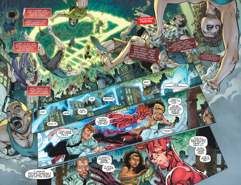 Comic Book panel of people flying and Wally West trying to figure out what's going on.
